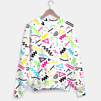 Miniatur Retro 80's 90's Neon Pink Green Blue Yellow Doodle Sweater, Live Heroes