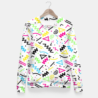 Miniatur Retro 80's 90's Neon Pink Green Blue Yellow Doodle Fitted Waist Sweater, Live Heroes