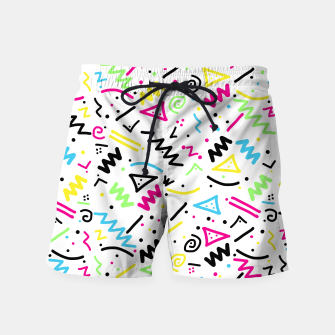 Miniatur Retro 80's 90's Neon Pink Green Blue Yellow Doodle Swim Shorts, Live Heroes
