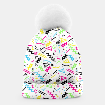Miniatur Retro 80's 90's Neon Pink Green Blue Yellow Doodle Beanie, Live Heroes