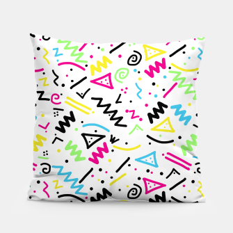 Miniatur Retro 80's 90's Neon Pink Green Blue Yellow Doodle Pillow, Live Heroes