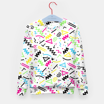 Miniatur Retro 80's 90's Neon Pink Green Blue Yellow Doodle Kid's Sweater, Live Heroes