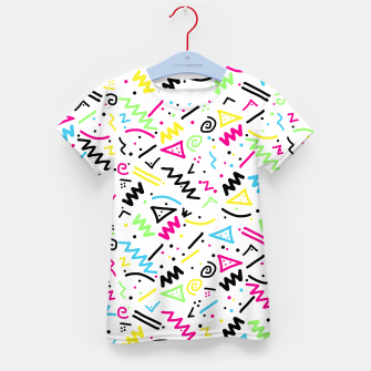 Miniatur Retro 80's 90's Neon Pink Green Blue Yellow Doodle Kid's T-shirt, Live Heroes