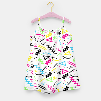 Miniatur Retro 80's 90's Neon Pink Green Blue Yellow Doodle Girl's Dress, Live Heroes