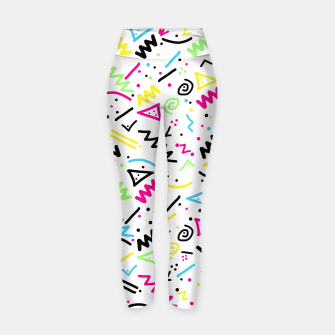 Thumbnail image of Retro 80's 90's Neon Pink Green Blue Yellow Doodle Yoga Pants, Live Heroes