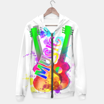 Thumbnail image of Music Themed Popping Guitars Colorful Design Hoodie, Live Heroes