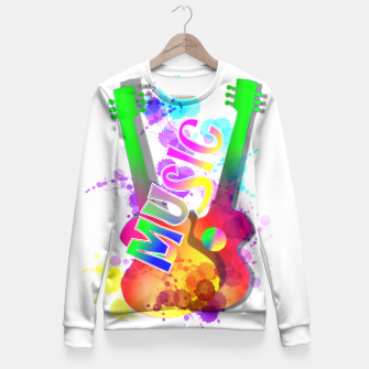 Thumbnail image of Music Themed Popping Guitars Colorful Design Fitted Waist Sweater, Live Heroes