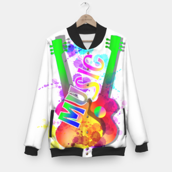 Thumbnail image of Music Themed Popping Guitars Colorful Design Baseball Jacket, Live Heroes