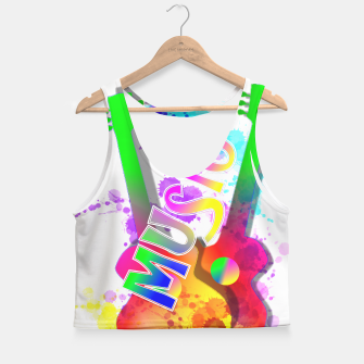 Thumbnail image of Music Themed Popping Guitars Colorful Design Crop Top, Live Heroes