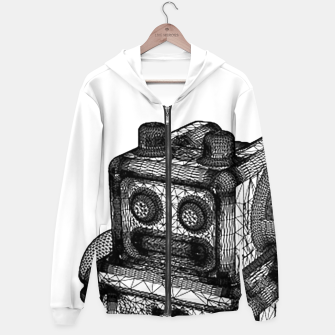 Thumbnail image of wireframe robot Hoodie, Live Heroes
