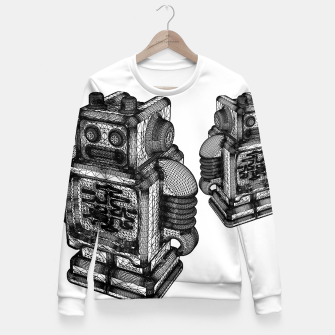 Thumbnail image of wireframe robot Fitted Waist Sweater, Live Heroes