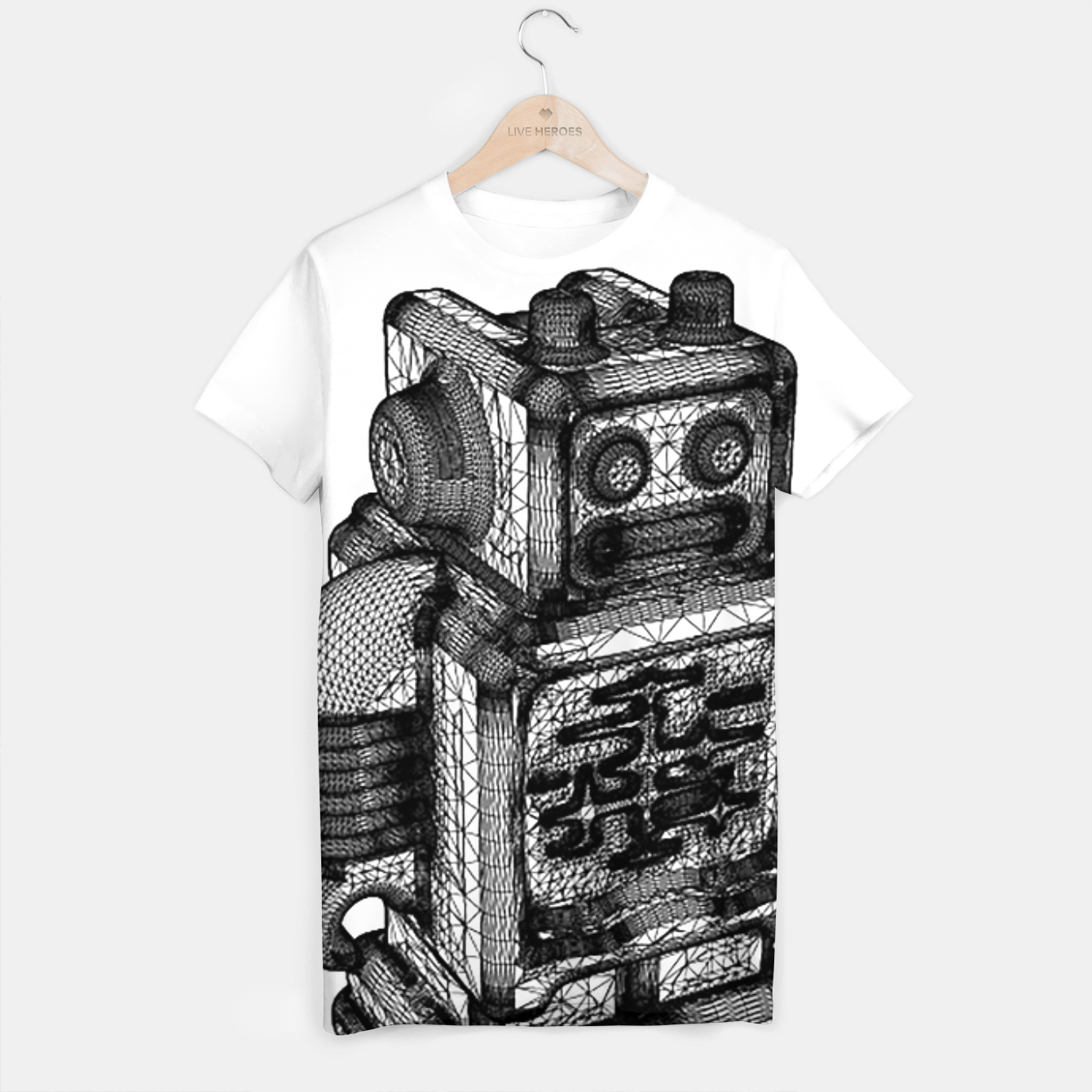 Image of wireframe robot T-shirt - Live Heroes