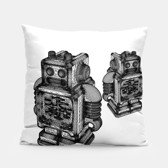 Thumbnail image of wireframe robot Pillow, Live Heroes