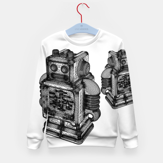 Thumbnail image of wireframe robot Kid's Sweater, Live Heroes