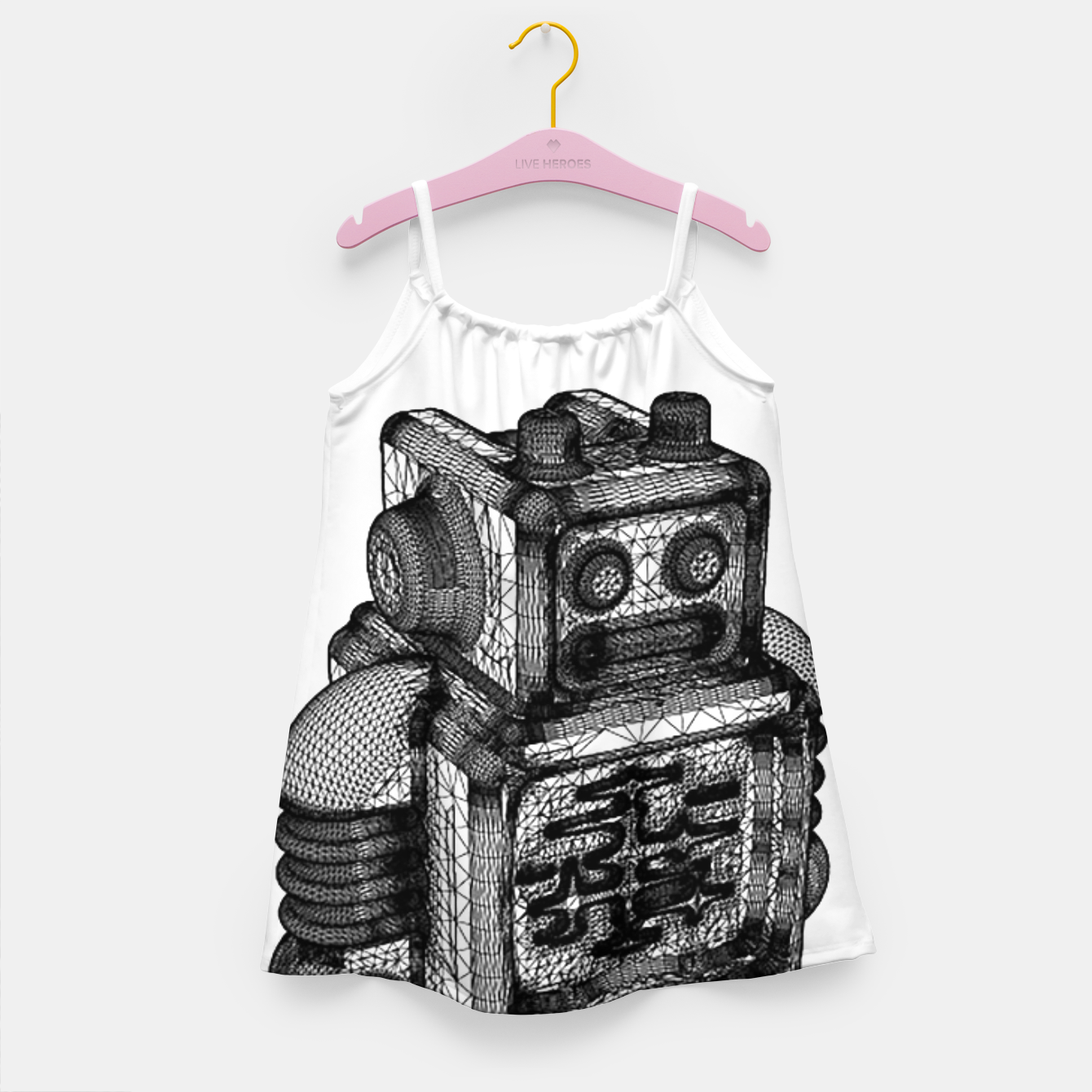 Image of wireframe robot Girl's Dress - Live Heroes