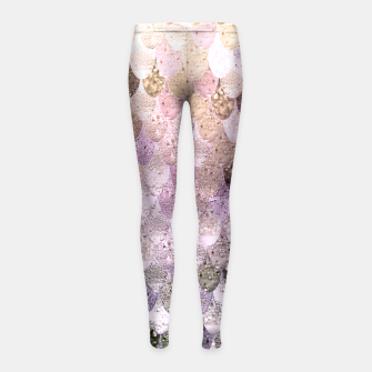 Thumbnail image of MERMAID MIX PASTEL PINK GIRLS LEGGINS by Monika Strigel, Live Heroes