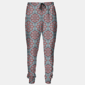 "Thumbnail image of ""Flowers and laurels - gray & red""  Sweatpants, Live Heroes"