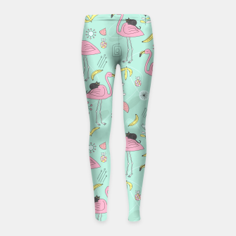 Thumbnail image of Flamingo and Black cat Girl's Leggings, Live Heroes