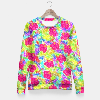 Hawaiian Pink Flowers Fitted Waist Sweater thumbnail image