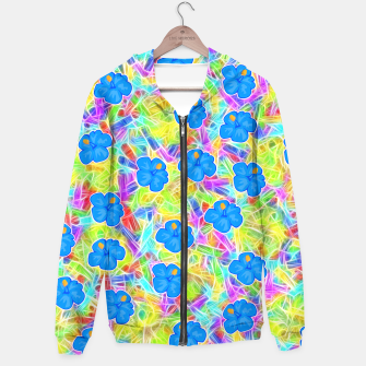 Hawaiian Blue Flowers Hoodie thumbnail image