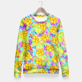 Hawaiian Yellow Flowers Fitted Waist Sweater thumbnail image