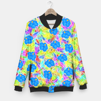 Hawaiian Blue Flowers Baseball Jacket thumbnail image
