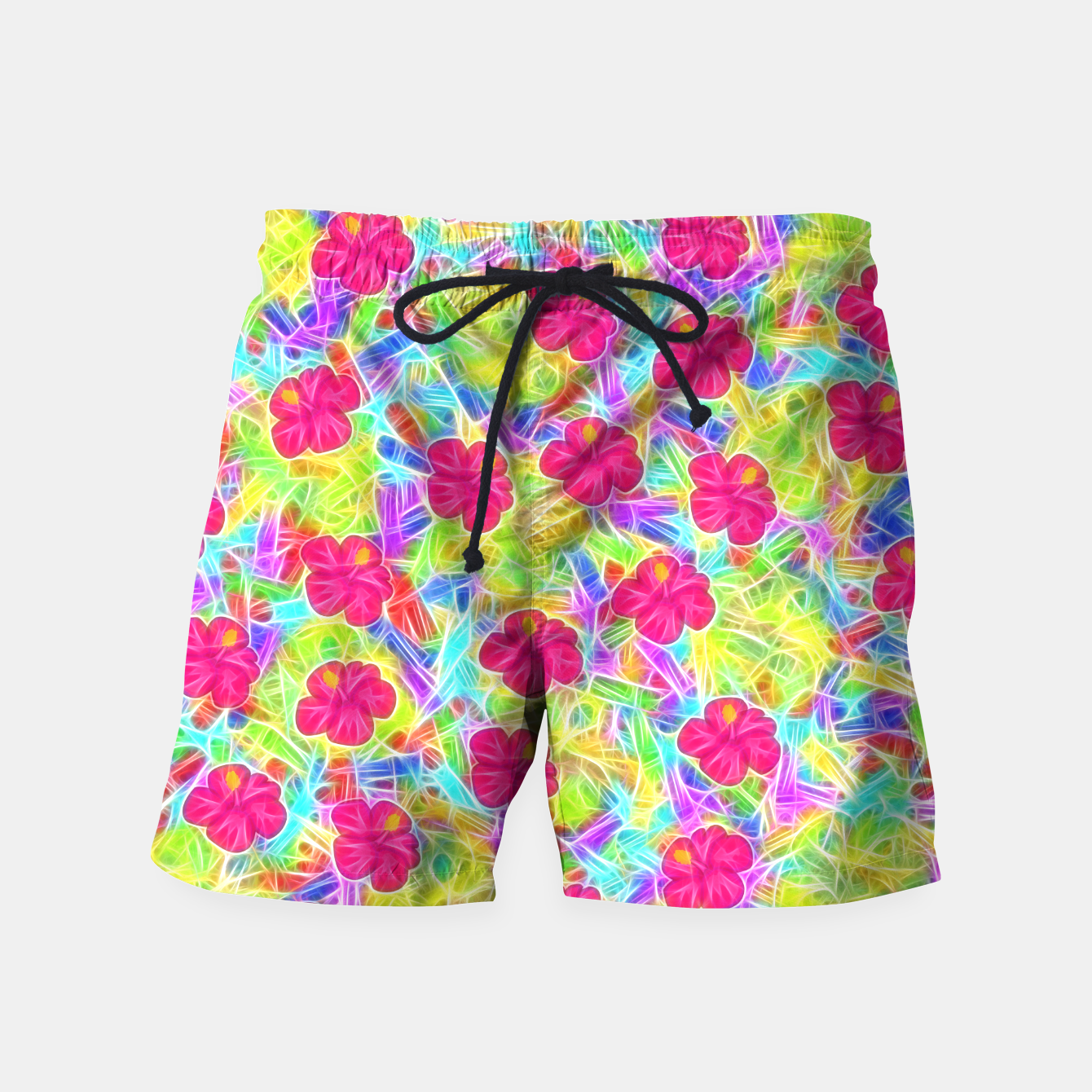 Image of Hawaiian Pink Flowers Swim Shorts - Live Heroes