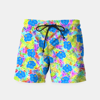 Hawaiian Blue Flowers Swim Shorts thumbnail image