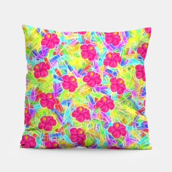 Hawaiian Pink Flowers Pillow thumbnail image