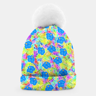 Hawaiian Blue Flowers Beanie thumbnail image