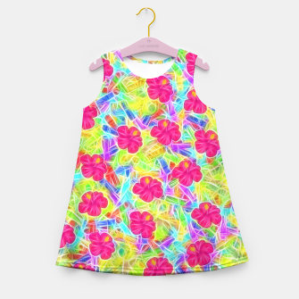Hawaiian Pink Flowers Girl's Summer Dress thumbnail image