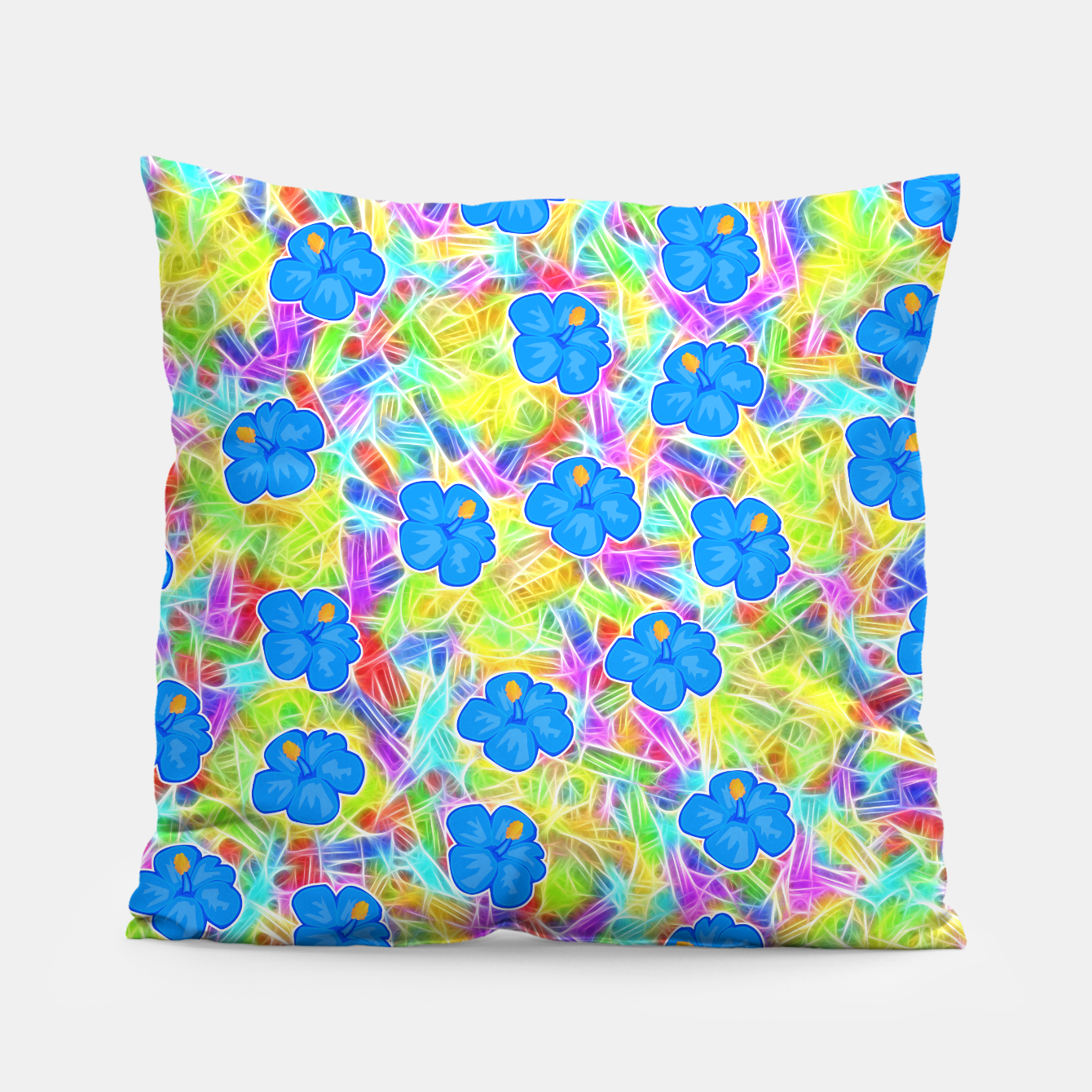 Image of Hawaiian Blue Flowers Pillow - Live Heroes