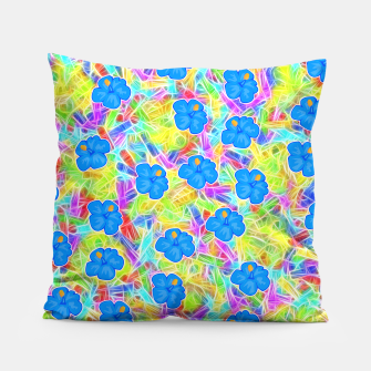Hawaiian Blue Flowers Pillow thumbnail image