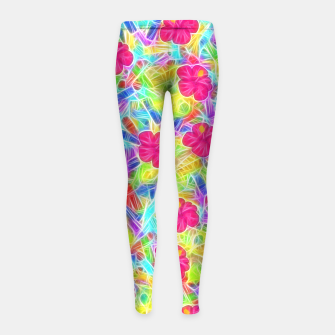 Hawaiian Pink Flowers Girl's Leggings thumbnail image