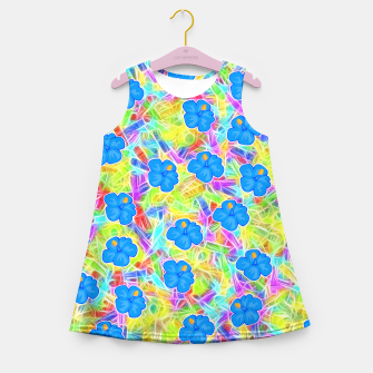 Hawaiian Blue Flowers Girl's Summer Dress thumbnail image