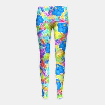 Hawaiian Blue Flowers Girl's Leggings thumbnail image