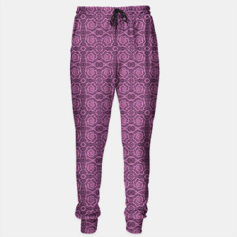 "Thumbnail image of ""Pink helices"" pattern in pink & purple Sweatpants, Live Heroes"