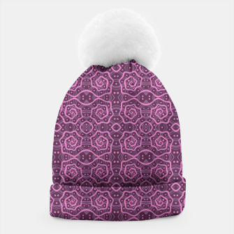 """Thumbnail image of """"Pink helices"""" pattern in pink & purple Beanie, Live Heroes"""