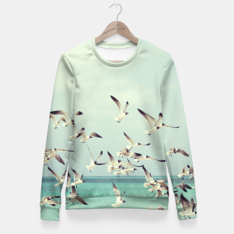 Miniatur Seagulls Flying over Beach Fitted Waist Sweater, Live Heroes