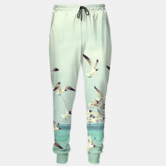 Miniatur Seagulls Flying over Beach Sweatpants, Live Heroes