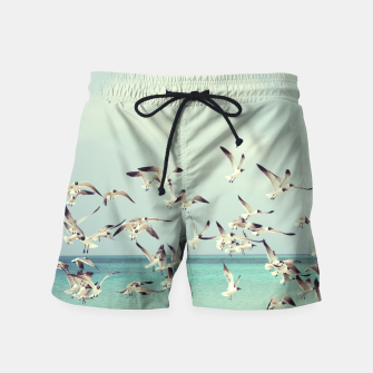 Miniatur Seagulls Flying over Beach Swim Shorts, Live Heroes
