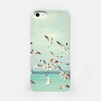 Miniatur Seagulls Flying over Beach iPhone Case, Live Heroes