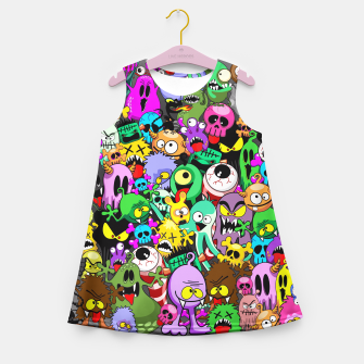 Thumbnail image of Monsters Doodles Characters Saga Girl's Summer Dress, Live Heroes