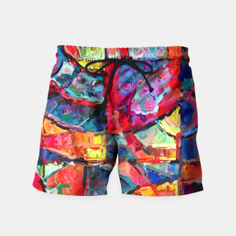 Miniatur Colorful Abstract Painting  Swim Shorts, Live Heroes