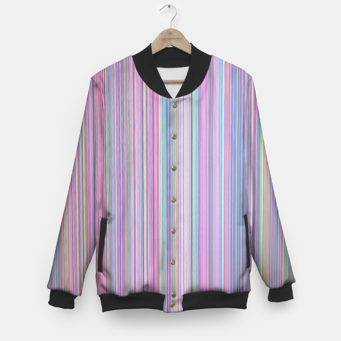 Broken Flat Screen TV Test Pattern Baseball Jacket, Live Heroes