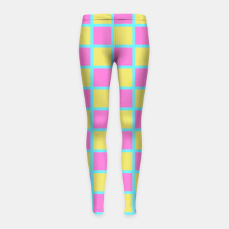 Miniatur Pink Yellow turquoise checkerboard Girl's Leggings, Live Heroes