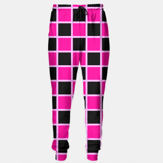 Thumbnail image of Black and pink Checkerboard Sweatpants, Live Heroes