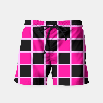 Thumbnail image of Black and pink Checkerboard Swim Shorts, Live Heroes