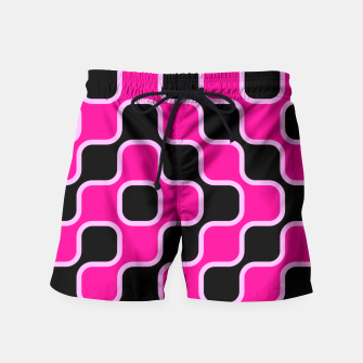 Thumbnail image of Black and pink  geometric abstract Swim Shorts, Live Heroes
