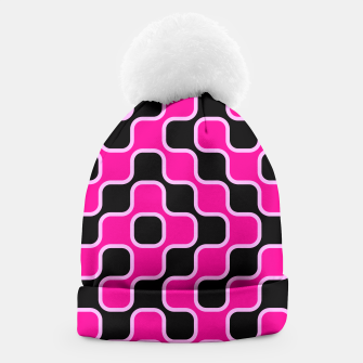 Thumbnail image of Black and pink  geometric abstract Beanie, Live Heroes